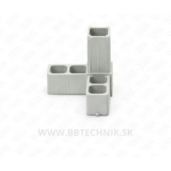 Spojka hliníkových profilov rohová plastová 25x25 mm