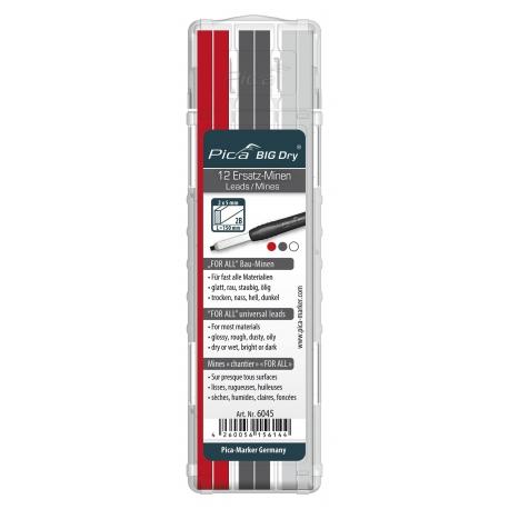 PICA BIG Dry tuhy sada 12ks grafit+biela+červená FOR ALL