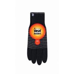 Heat Holders pánske zimné rukavice BERGEN s termo podšívkou HeatWeaver - pásikavé čierno-šedé