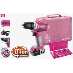 Skrutkovač AKU 12V Li-ion 1x 1300mAh ružový darčeková sada EXTOL