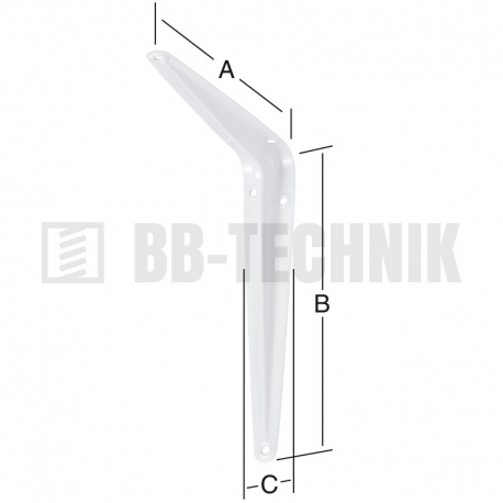 Policová konzola plechová 125x150x32 mm biela
