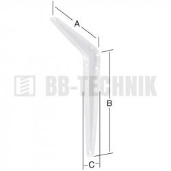 Policová konzola plechová 200x250x40 mm biela