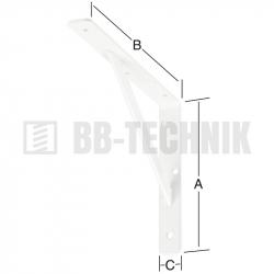 Policová konzola s výstuhou 300x200x30 mm biela