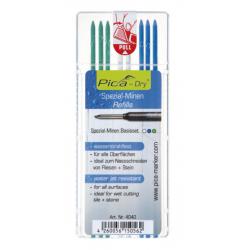 PICA Dry tuhy sada farebná 8ks zelená, biela, modrá, pre značkovač PICA DRY