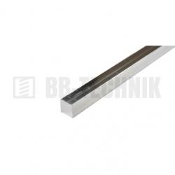 Hliníková tyč hladká štvorcová 12x12x1000 mm neeloxovaná