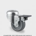 TENTE Koliesko prístrojové otočné, otvor+brzda, 50x19 mm, 50 kg