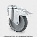TENTE Koliesko prístrojové otočné, otvor+brzda, 75x25 mm, 75kg