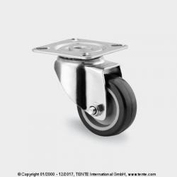 TENTE Koliesko prístrojové otočné, platnička, 50x19mm, 50 kg