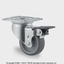 TENTE Koliesko prístrojové otočné, platnička+brzda, 50x19 mm, 50 kg