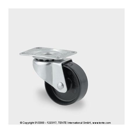 TENTE Koliesko prístrojové otočné, 32x14 mm PA cierne, 20kg