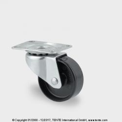 TENTE Koliesko prístrojové otočné, 38x16mm, platnička, čierne, 25 kg