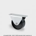TENTE Koliesko prístrojové pevné, 25x13mm, platnička, čierne, 25 kg