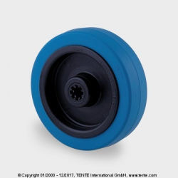 TENTE Koliesko transportné, 125x40 mm, otvor 12 mm, modrá guma, 250 kg