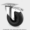 TENTE Koliesko transportné, 80x37 mm, otočné, platička+brzda, čierne, 70 kg