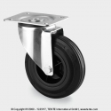 TENTE Koliesko transportné, 80x37 mm, otočné, platnička, čierne, 70 kg