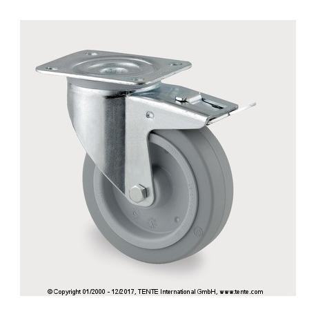 TENTE Koliesko transportné, 100x34 mm, otočné, platnička+brzda, 160 kg
