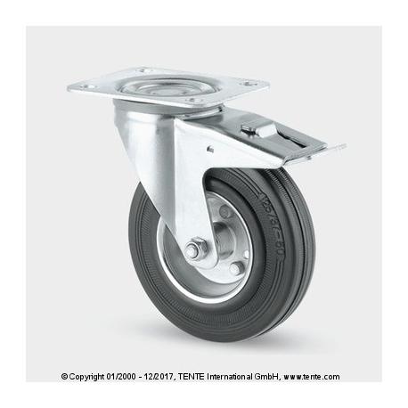TENTE Koliesko transportné, 125x24 mm, otočné, platnička+brzda, čierne, 100 kg