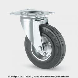 TENTE Koliesko transportné, 125x24 mm, otočné, platnička, čierne, 100 kg