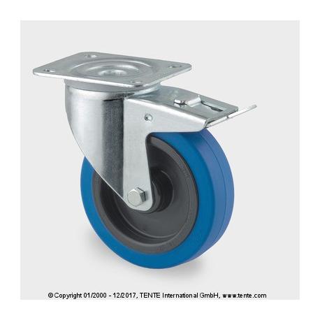 TENTE Koliesko transportné, 125x40 mm otočné, platnička+brzda, modré, 250 kg
