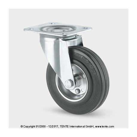 TENTE Koliesko transportné, 160x23 mm otočné, platnička, čierne, 135 kg