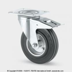 TENTE Koliesko transportné, 200x30 mm, otočné, platnička+brzda, čierne, 205 kg