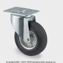 TENTE Koliesko transportné, 200x30 mm, otočné, platnička, čierne, 205 kg