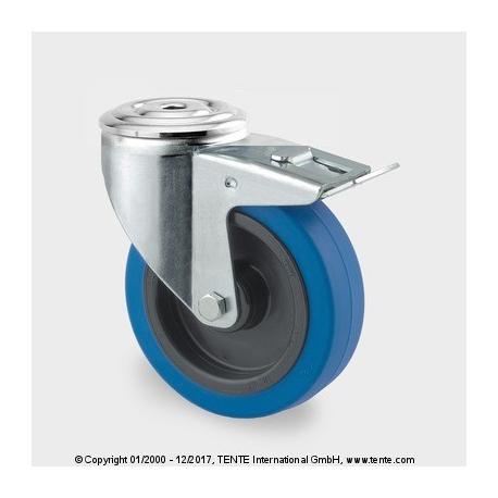 TENTE Koliesko transportné, 100x34 mm, modrá guma, otočné+brzda, 150 kg
